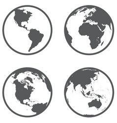 globe different continents in a flat style vector image
