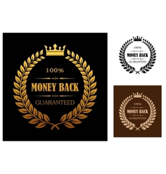 Golden Money back guarantee labels vector image