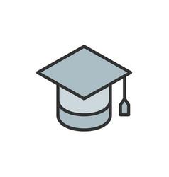 graduation cap education flat color line vector image