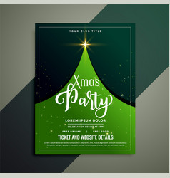 Green christmas tree flyer template vector