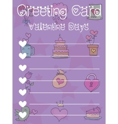 Greeting card valentine on purple background vector
