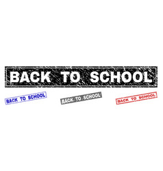 grunge back to school scratched rectangle vector image