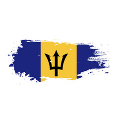 Grunge brush stroke with barbados national flag vector