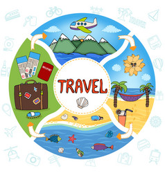 hand drawn summer vacation round concept vector image