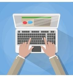 Hands on laptop keyboard vector image
