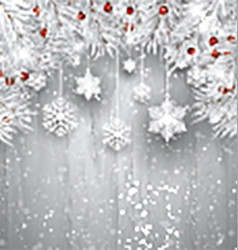 Hanging snowflakes with silver Christmas tree vector image