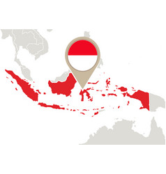 Indonesia on world map vector