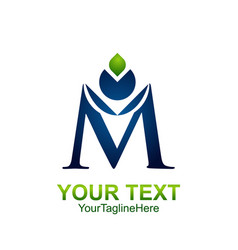 initial letter m logo template colored blue green vector image