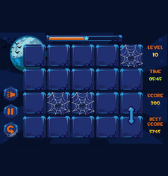 interface match3 games and buttons in vector image
