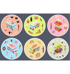 Isometric Street Food Trucks Set vector