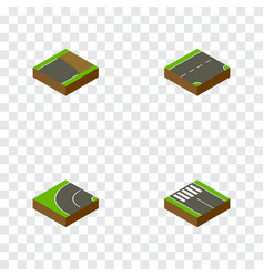 Isometric way set of down unfinished way and vector