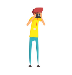 journalist photographer taking photo official vector image vector image