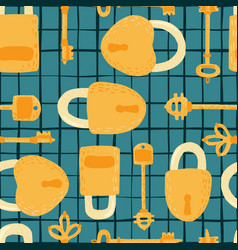 Key and lock seamless pattern on lines background vector