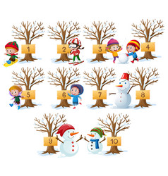 Kids and numbers on tree in winter vector