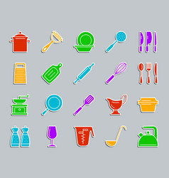 Kitchenware patch sticker icons set vector