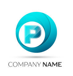 Letter p logo symbol in the colorful circle on vector