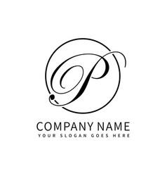 letter p script initial luxury logo design vector image