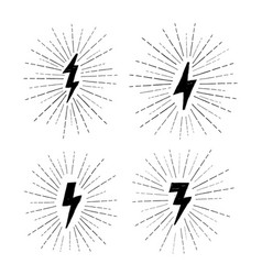 Lightning bolt set grunge strike icons vector