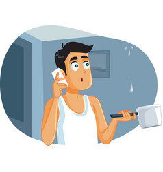 Man calling plumber while ceiling vector
