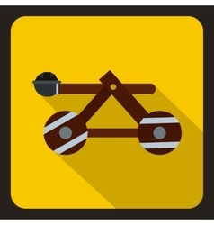 Medieval wooden catapult icon flat style vector