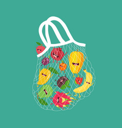 mesh bag with funny fruits vector image