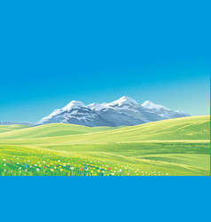 Mountain landscape with alpine meadows vector