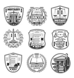 notary office icons testament decree judge law vector image