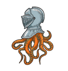 Octopus tentacles in knight helmet sketch vector