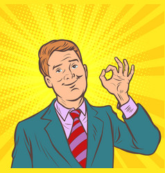 okay gesture ok pop art businessman vector image
