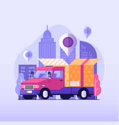 Online delivery service flat with car vector