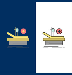 Operation theater medical hospital icons flat and vector