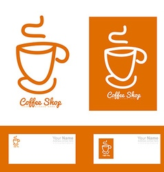 Orange coffee cup hand drawn logo vector