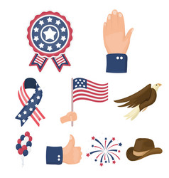 patriot day set icons in cartoon style big vector image