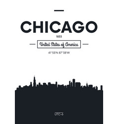 Poster city skyline chicago flat style vector