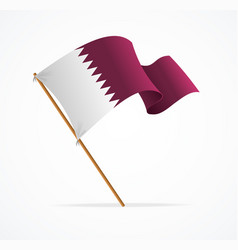 realistic 3d detailed qatar flag on flagpole vector image