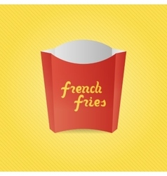 Realistic french fries red paper box vector