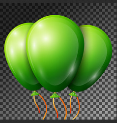 realistic green balloons with ribbons isolated vector image