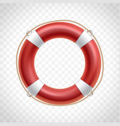 Red life buoy isolated on transparent background vector