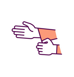 Rolling up sleeves rgb color icon vector