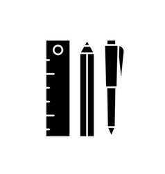 ruler pencil and pen black icon sign on vector image