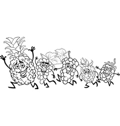 Running fruits cartoon coloring page vector