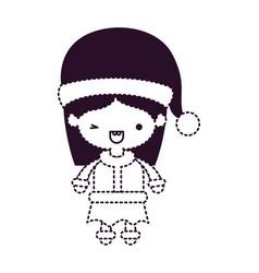 Santa claus woman cartoon full body face with wink vector