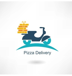 scooter carries pizza vector image