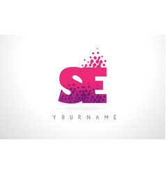 Se s e letter logo with pink purple color and vector