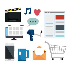 set computer and smartphone to social media vector image