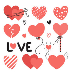 set of different hearts with lettering for vector image