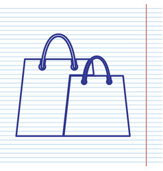 shopping bags sign navy line icon on vector image vector image