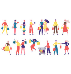 shopping characters men and women carrying vector image