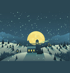 Small town in winter vector