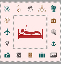 smoking in bed icon elements for your design vector image